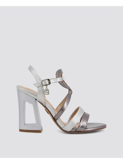 Grey Patent Cross Over Strap Sandals