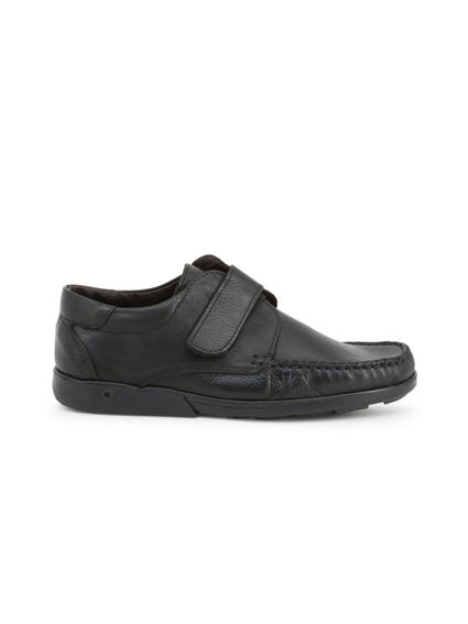 Black Leather Strap Slip On Moccasins