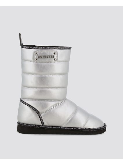 Silver Quilted Leather Boots