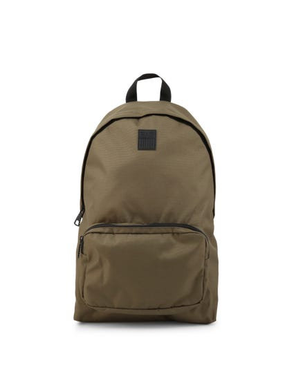 Brown Logo Zipper Backpack