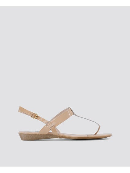 Beige Patent Sling Back Sandals