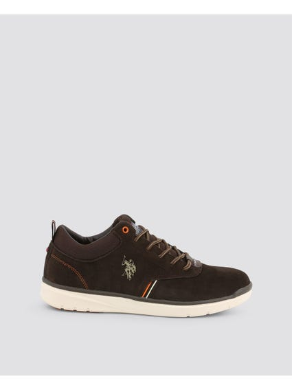 Dark Brown Ygora Textured Collar Sneakers