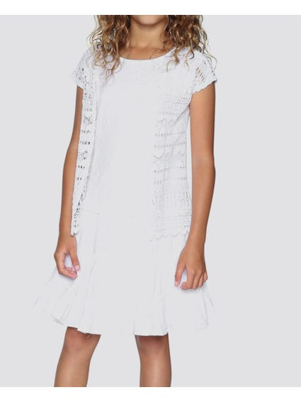 White Crochet Short Sleeves Kids Dress