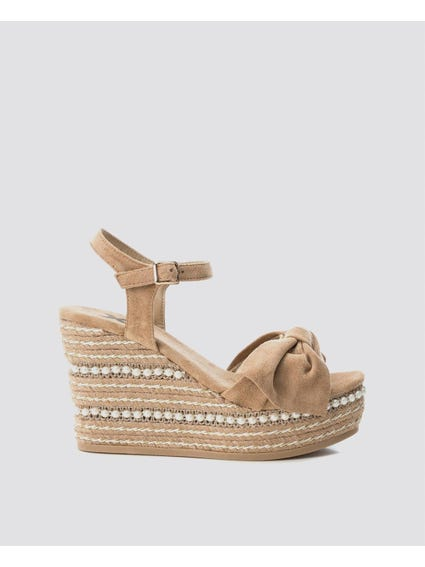 Beige Embellish Pearl Wedges Sandals