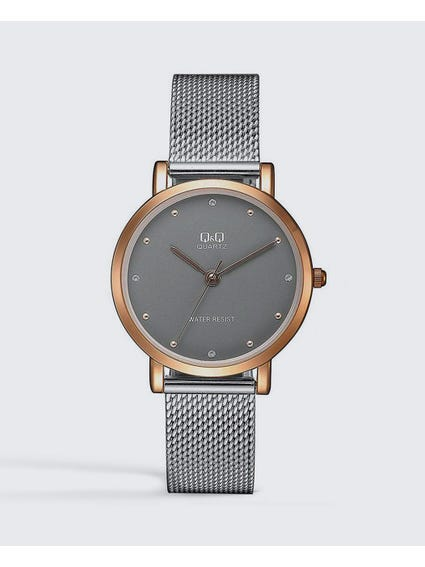 Grey Dial Stainless Steel Analog Watch