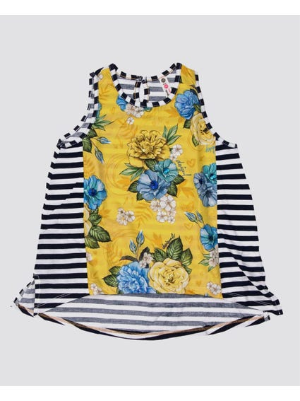 Monochrome Floral Sleeveless Kids Top