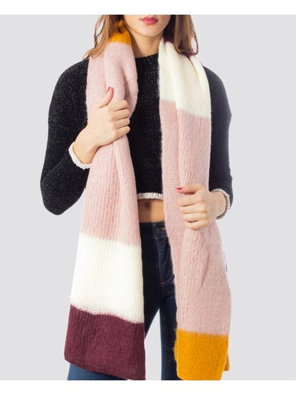 Kathy Knitted Striped Scarf