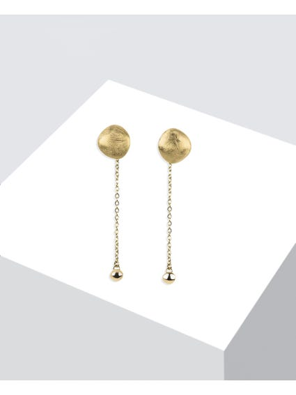 Gold Diamond Finishing Drop Earrings