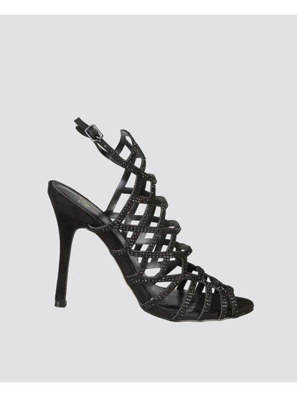 Black Rhinestones Strappy Sandals