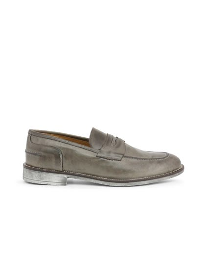 Grey Leather Crust Slip On Moccasins