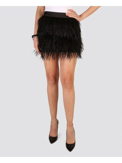 Black Faux Fur Mini Skirt