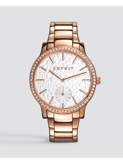 Rose Gold Stone Bezel Stainless Steel Watch