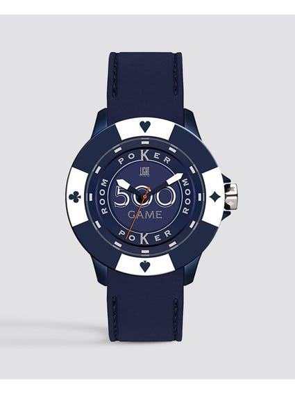 Blue White Silicone Poker Quartz Watch