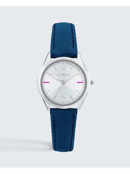Blue Eva Silver Dial Analog Watch