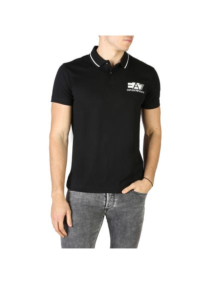 Black Left Chest Printed Logo Polo Shirt