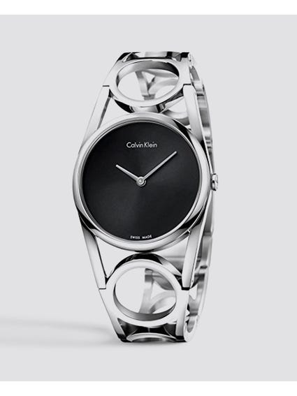 Round Black Dial Stainless Steel Watch