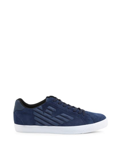 Blue Embossed Logo Sneakers