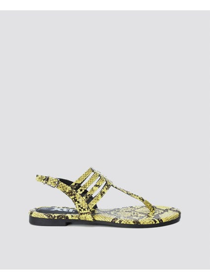 Yellow Snake Print Layer Sandals