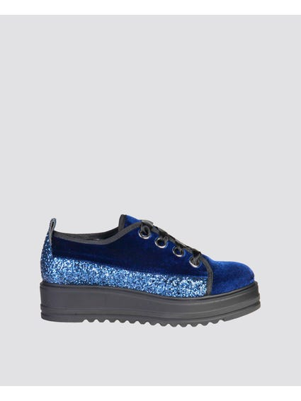 Blue Ewa Glitter Lace Up Sneakers