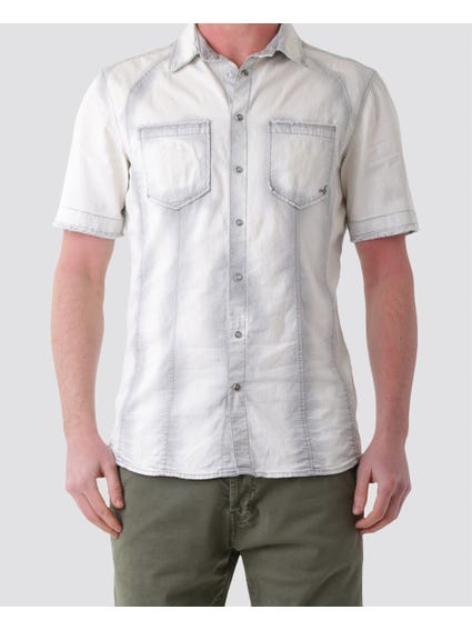 Grey Button Short Sleeves Shirt