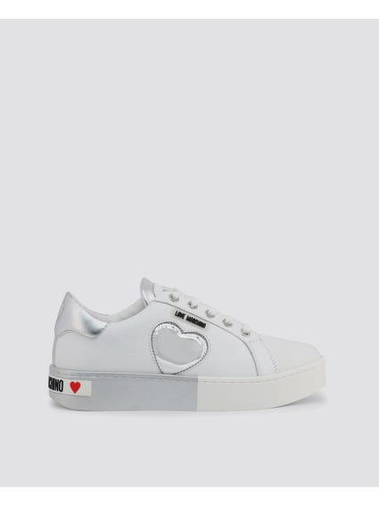 Silver Patched Low Top Sneakers