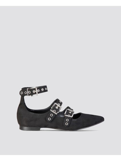 Black Anastasia Flat Shoes