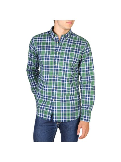 Green Checkered Two Cuffs Shirt