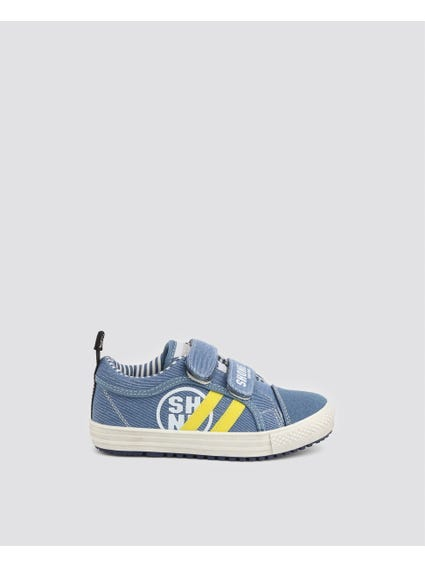 Blue Dual Velcro Kid Sneakers