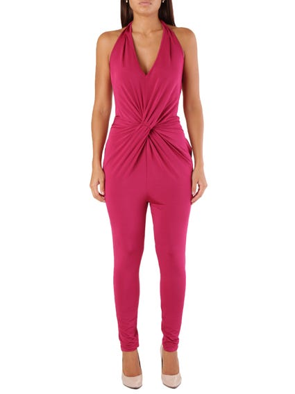 Red V Neck Sleeveless Jumpsuits
