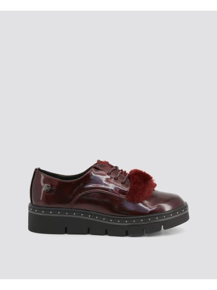 Red Patent Leather Lace Up Shoes