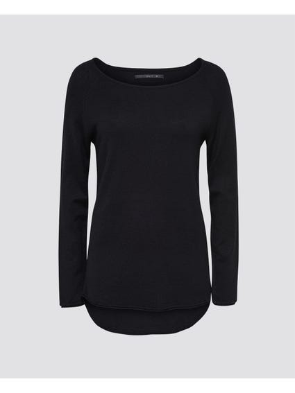 Black Wide Neck Knitted Top
