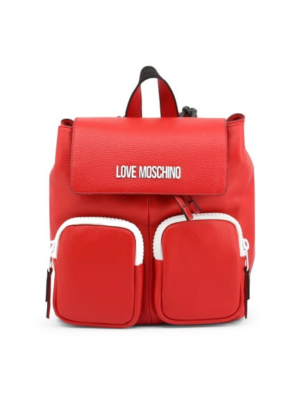 Red Leather Handle Pack Multi Pocket Backpack