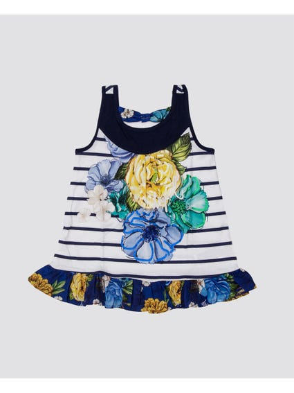 Floral Stripe Sleeveless Kids Top