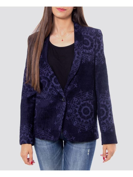 Collar Neck Pattern Blazer
