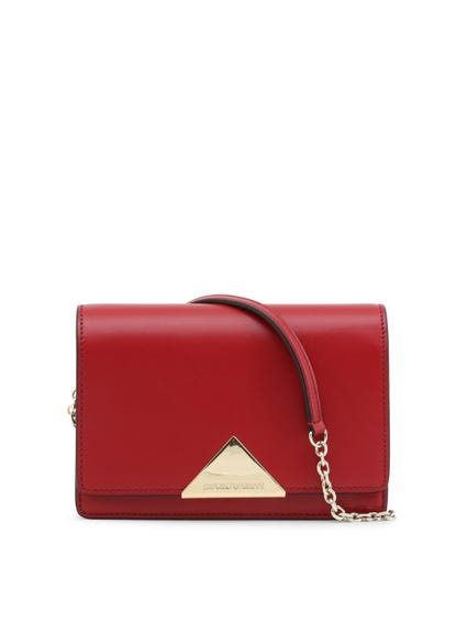 Red Leather Magnetic Crossbody Bag