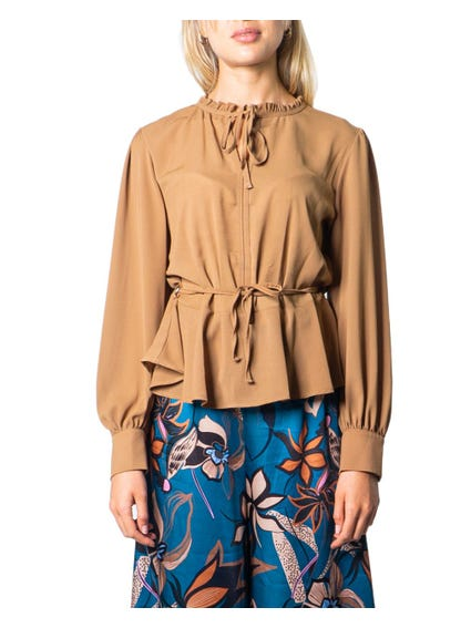 Brown Round Neck Self Tei Blouse
