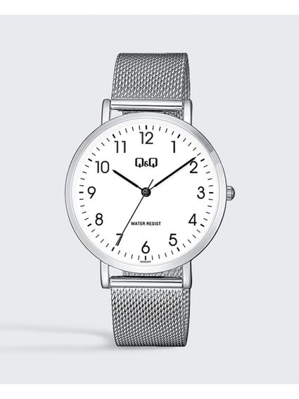 White Dial Stainless Steel Mesh Watch