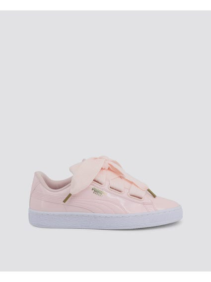Pink Basket Heart Patent Sneakers