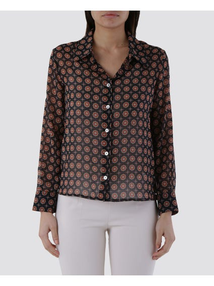 Contrast Button Long Sleeves Shirt