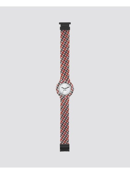 Red Pied De Poule Analog Watch