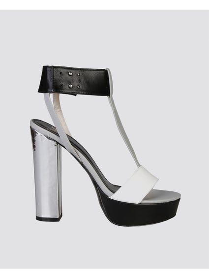 Black Melisande Ankle Strap Sandals