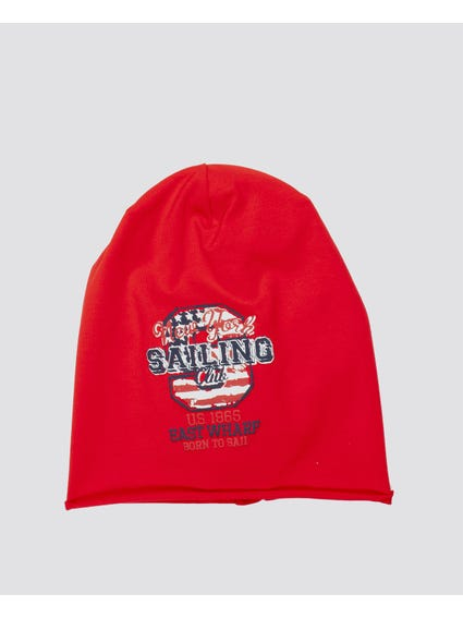 Rosso Printed Red Beanie