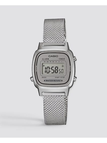 Silver Digital Chronograph Watch