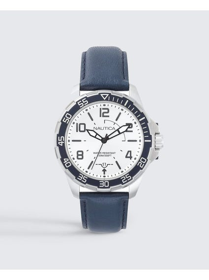 Blue Leather Strap Quartz Watch