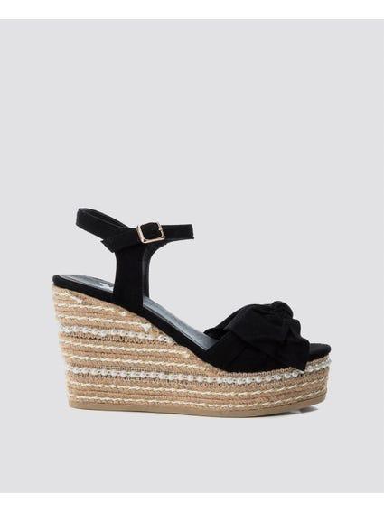 Black Embellish Pearl Wedges Sandals
