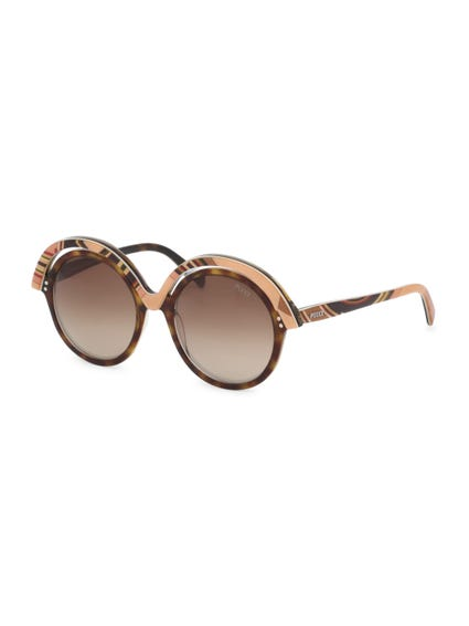 Chocolate Brown Overlayed Round Frame Sunglasses