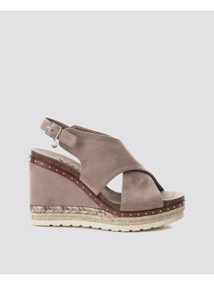 Taupe Dual Cross Wedges Sandals