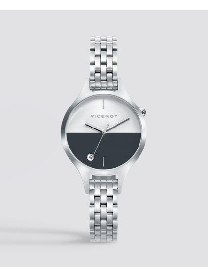Half Moon Stainless Steel Watch
