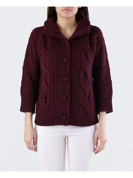 Maroon Cut Out Sleeves Cardigan