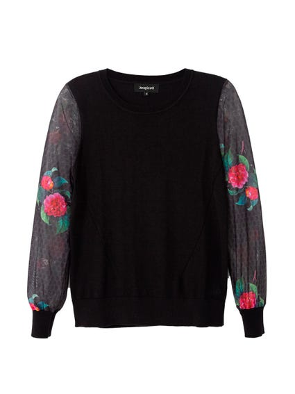 Floral Printed Sleeve Sweater